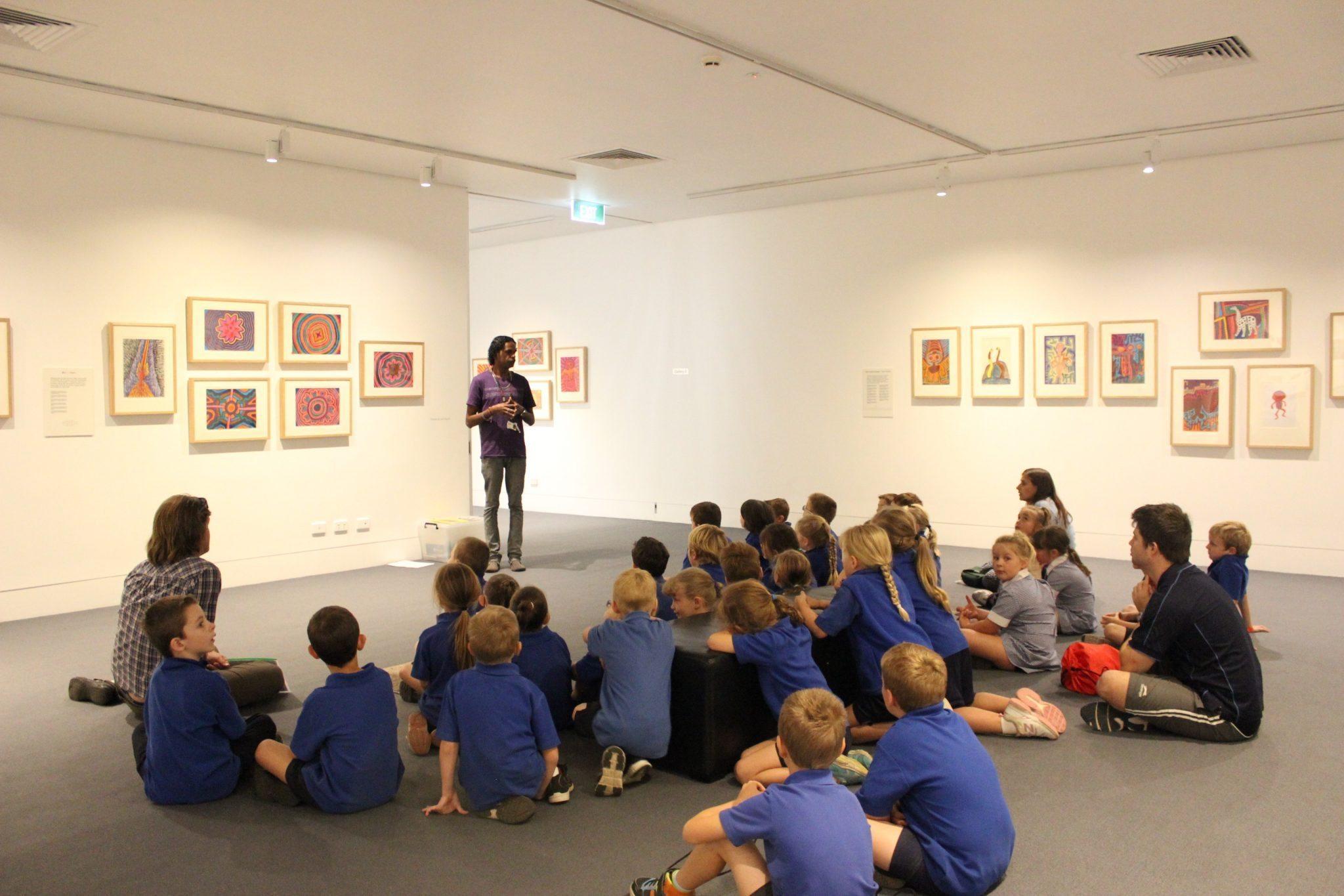 School children in the Jimmy Pike exhibition 2015