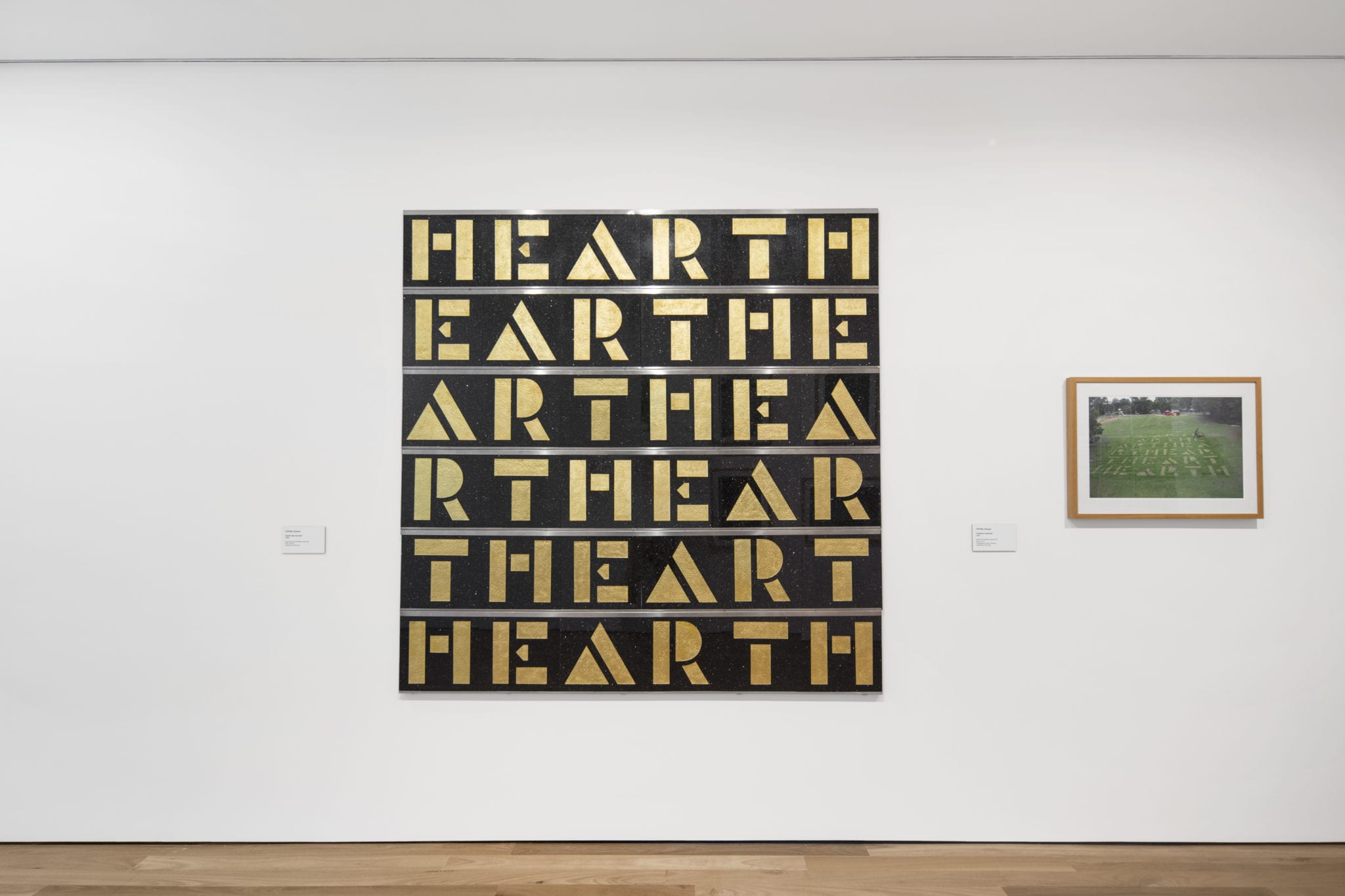 Richard Tipping, Hearth-hear the earth 2008 and Frankston Lawnwork 2008 (Richard Tipping: Art Word: Signs, Drawings, Typographs) 21 July to 21 October 2018, Latrobe Regional Gallery, Morwell). Photograph by Benjamin Hosking, 2018.
