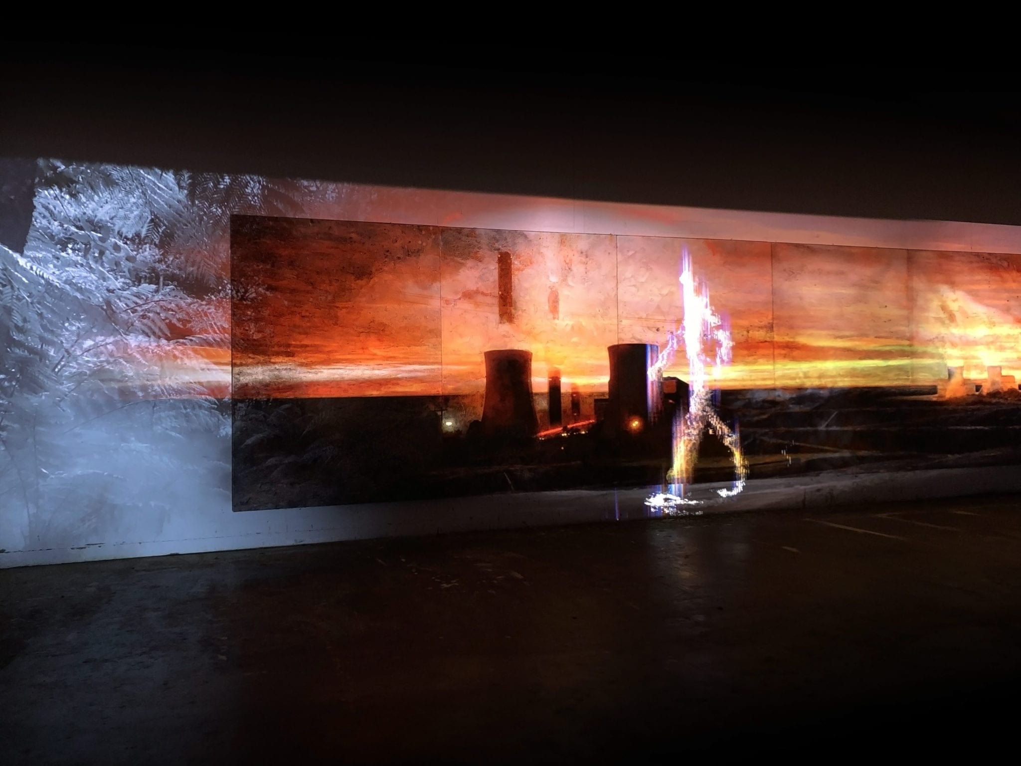 Alexander Boynes, Mandy Martin, Tristen Parr, Rewriting the Score, 2019, Acrylic, oil, pigments on linen, 3 Channel 4K video with stereo sound, 230cm x 1150cm. Image courtesy of the artists and Australian Galleries.