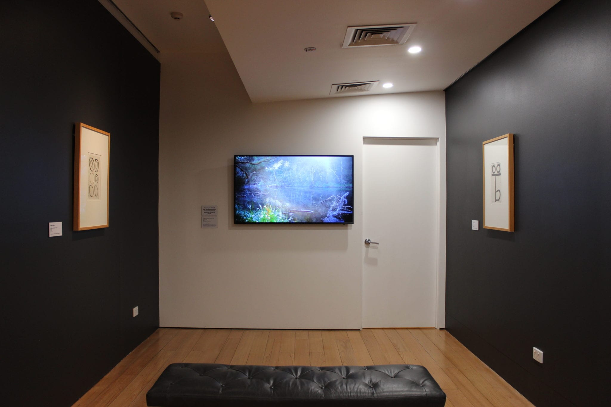 Exhibition Documentation, 'Voice, Treaty, Truth', Gunaikurnai artworks from the Latrobe Regional Gallery collection and by Uncle Albert Mullett and Steaphan Paton, 6 July 2019 to 6 October 2019, The Lane Gallery, Latrobe Regional Gallery. Photograph: Latrobe Regional Gallery.