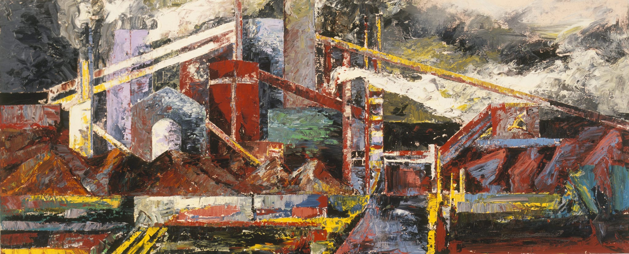 Image credit: Mandy Martin, APM Rain, Steam & Speed, 1990, oil on linen, 100 x 244.2 cm, Cbus Collection of Australian Art.