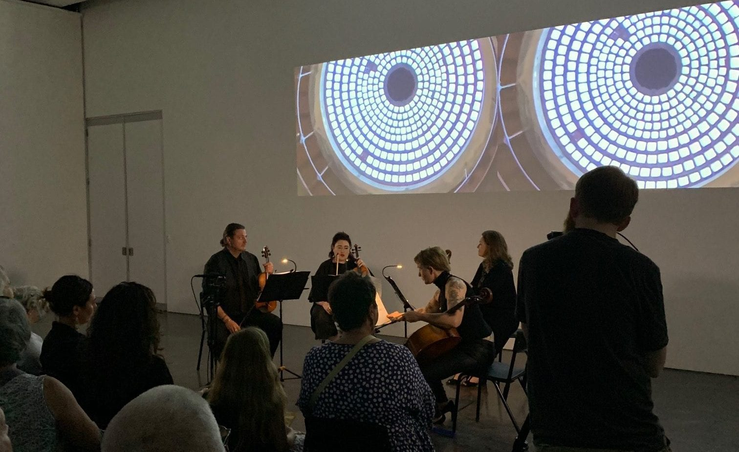 Silo String Quartet performing Mia Salsjo's composition 'Modes of Translation' at Latrobe Regional Gallery, February 2020.