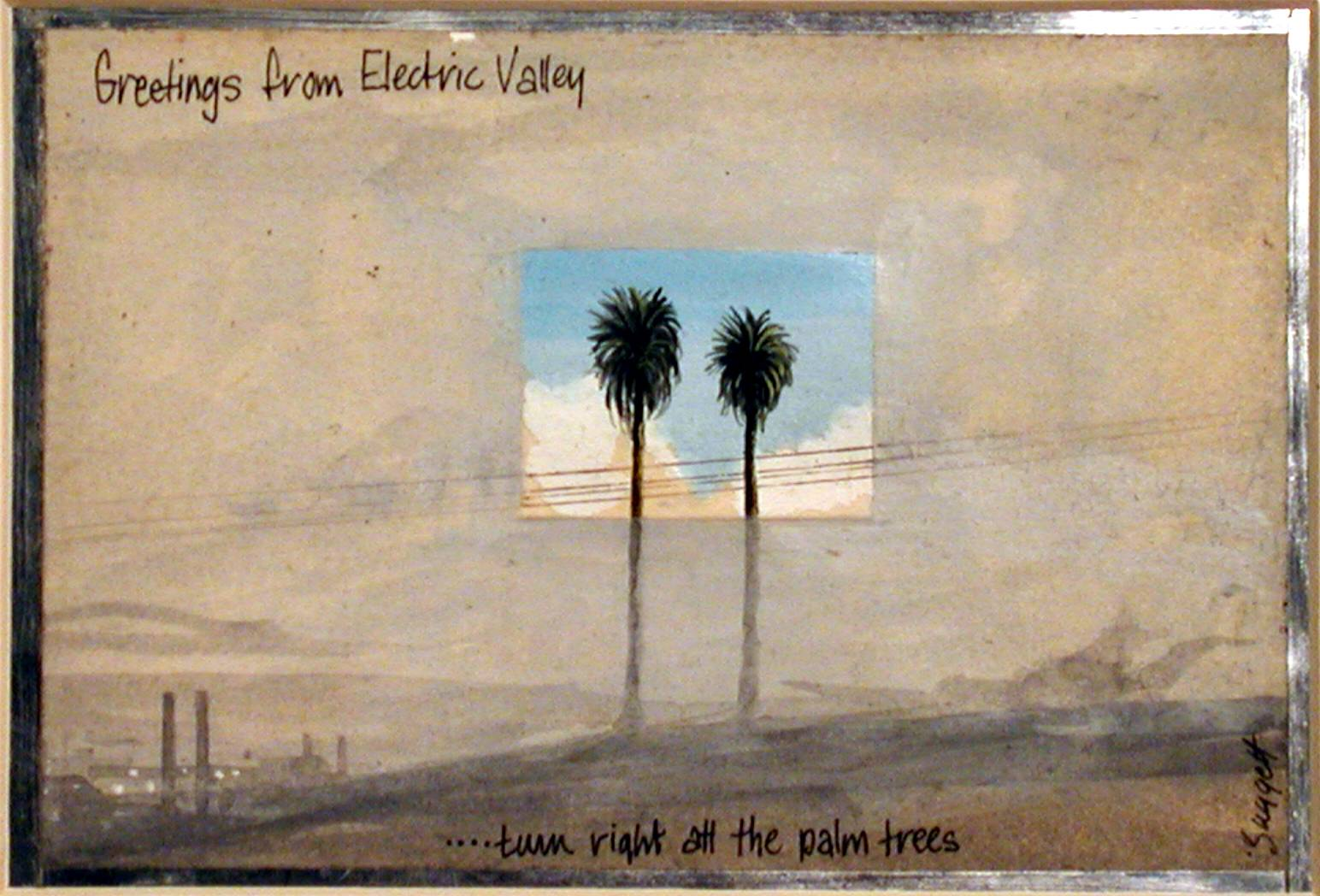 Image credit: Colin Suggett 'Greetings From Electric Valley', 1979. Gouache, watercolour and ink on paper, aluminium. Image courtesy of the artist. Latrobe Regional Gallery Collection.