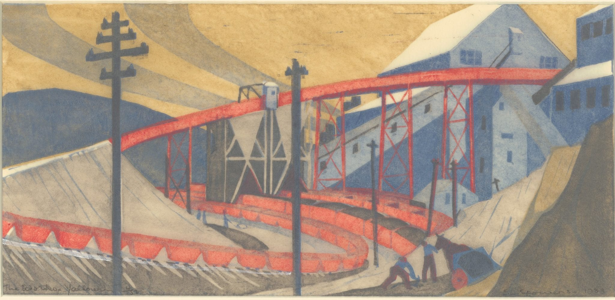 Ethel Spowers, The Works, Yallourn, 1933. Linocut 16 x 34cm plate. Latrobe Regional Gallery collection