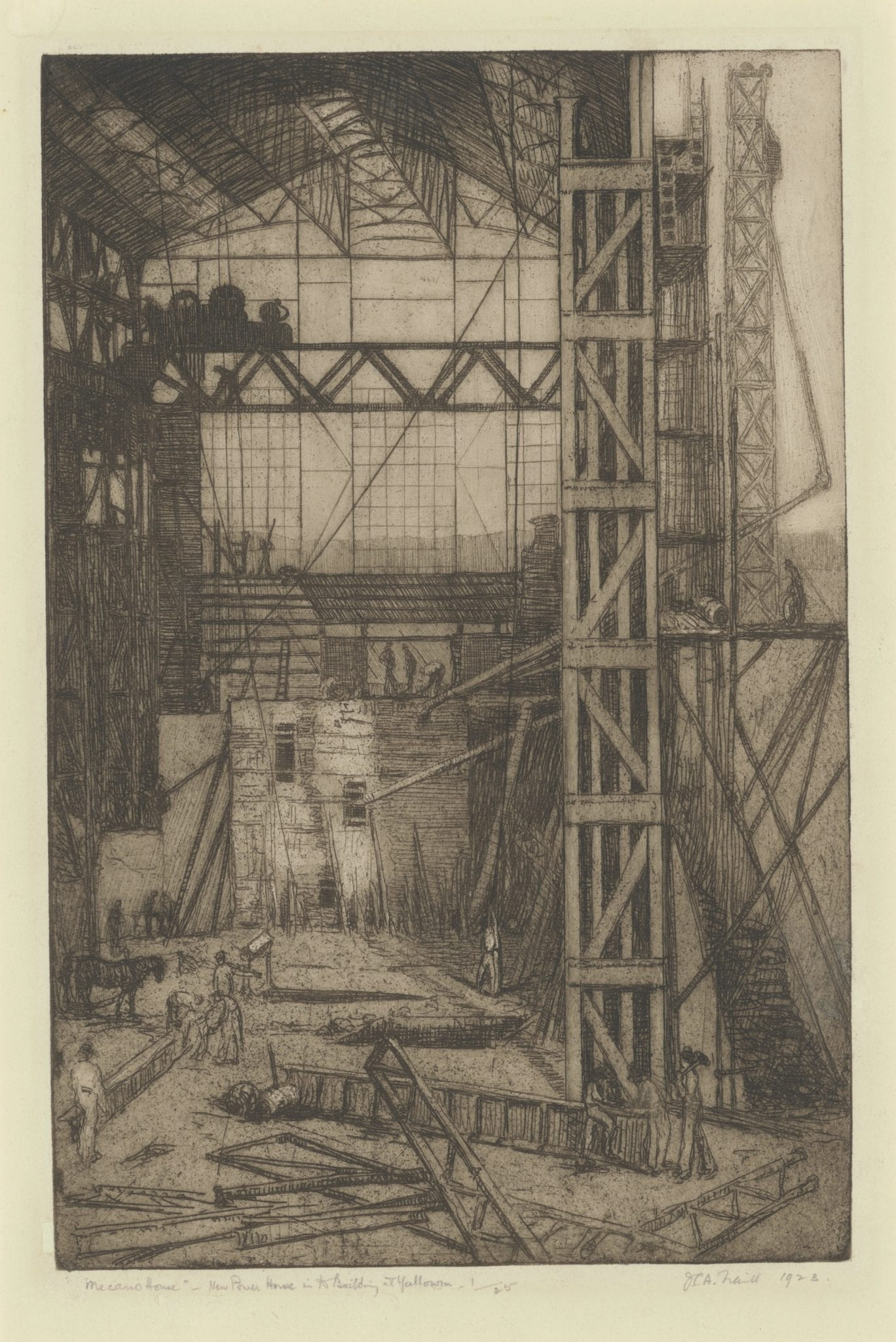 Jessie Traill, Meccano House, 1923. Drypoint etching, 34 x 23cm. Latrobe Regional Gallery Collection.