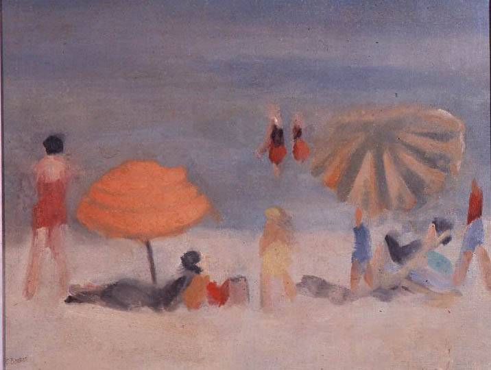 Clarice Beckett 1887 - 1935 Beach Scene Circa 1932 Oil on canvas 52.1 x 62 cm