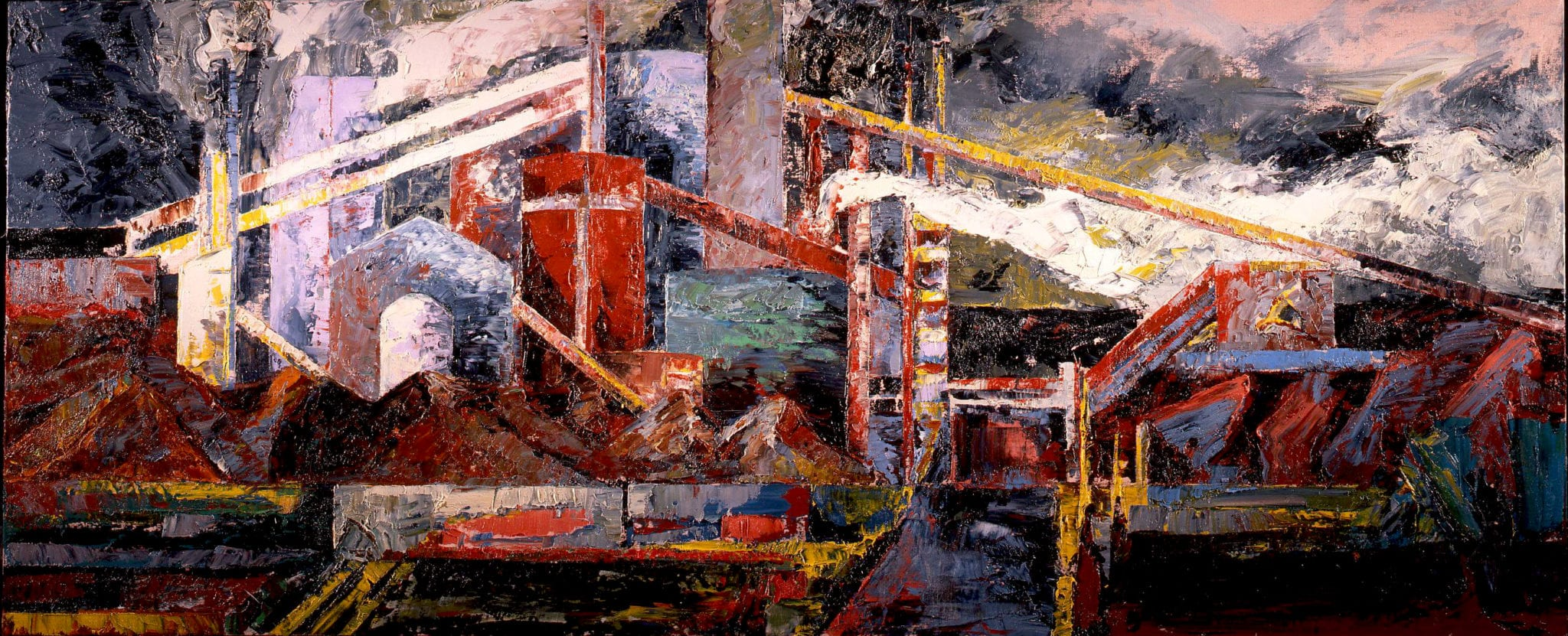 Mandy Martin Born 1952 APM rain, steam & speed 1990 Oil on linen 100 x 244.2 cm