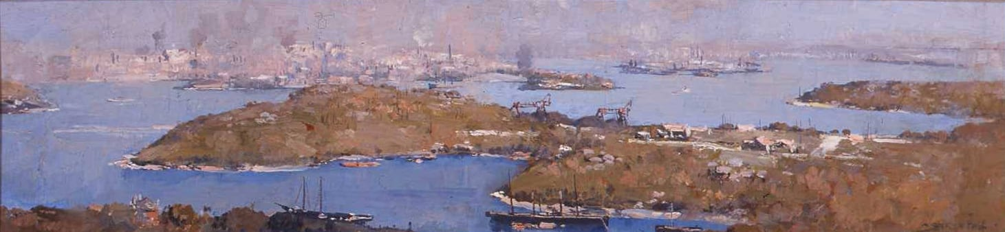 Arthur Streeton 1867 - 1943 Balmain & Leichhardt 1921 Oil on wooden panel 33.7 x 83.4 cm