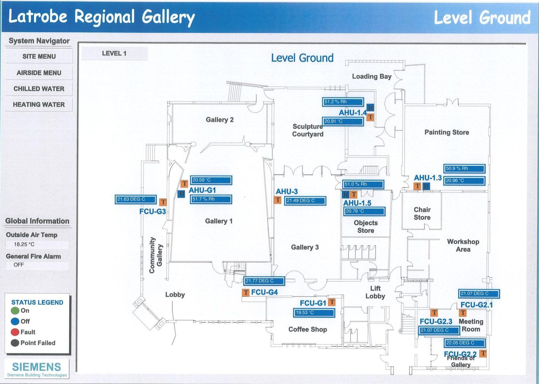 Digital climate control system, Ground Level. Latrobe Regional Gallery.