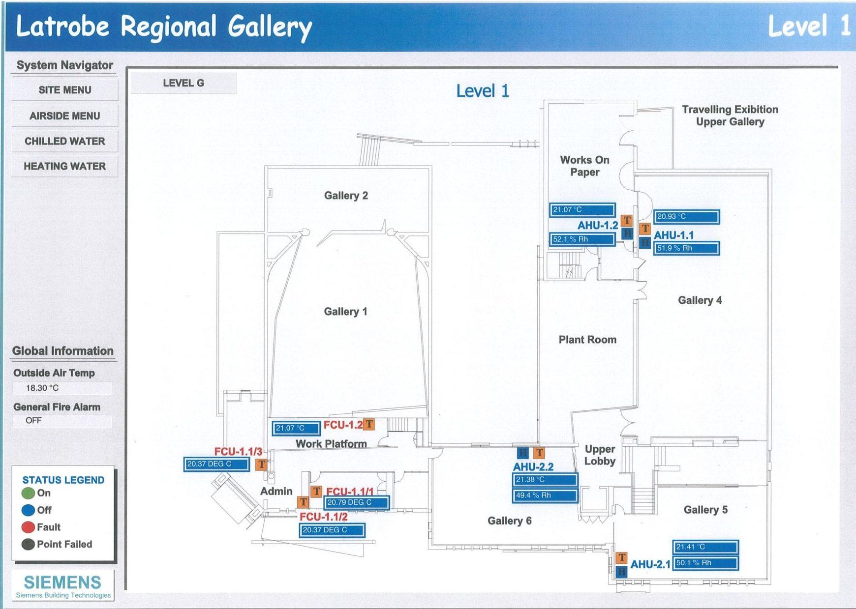 Digital climate control system, Level 1. Latrobe Regional Gallery.