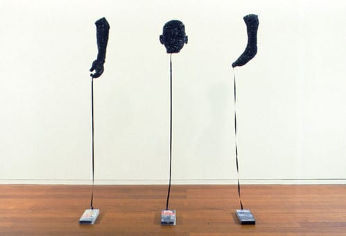 Fiona Hall, All at Sea, 1998, video tape, plastic, wire, nylon and paper. Latrobe REgional Gallery Collection.
