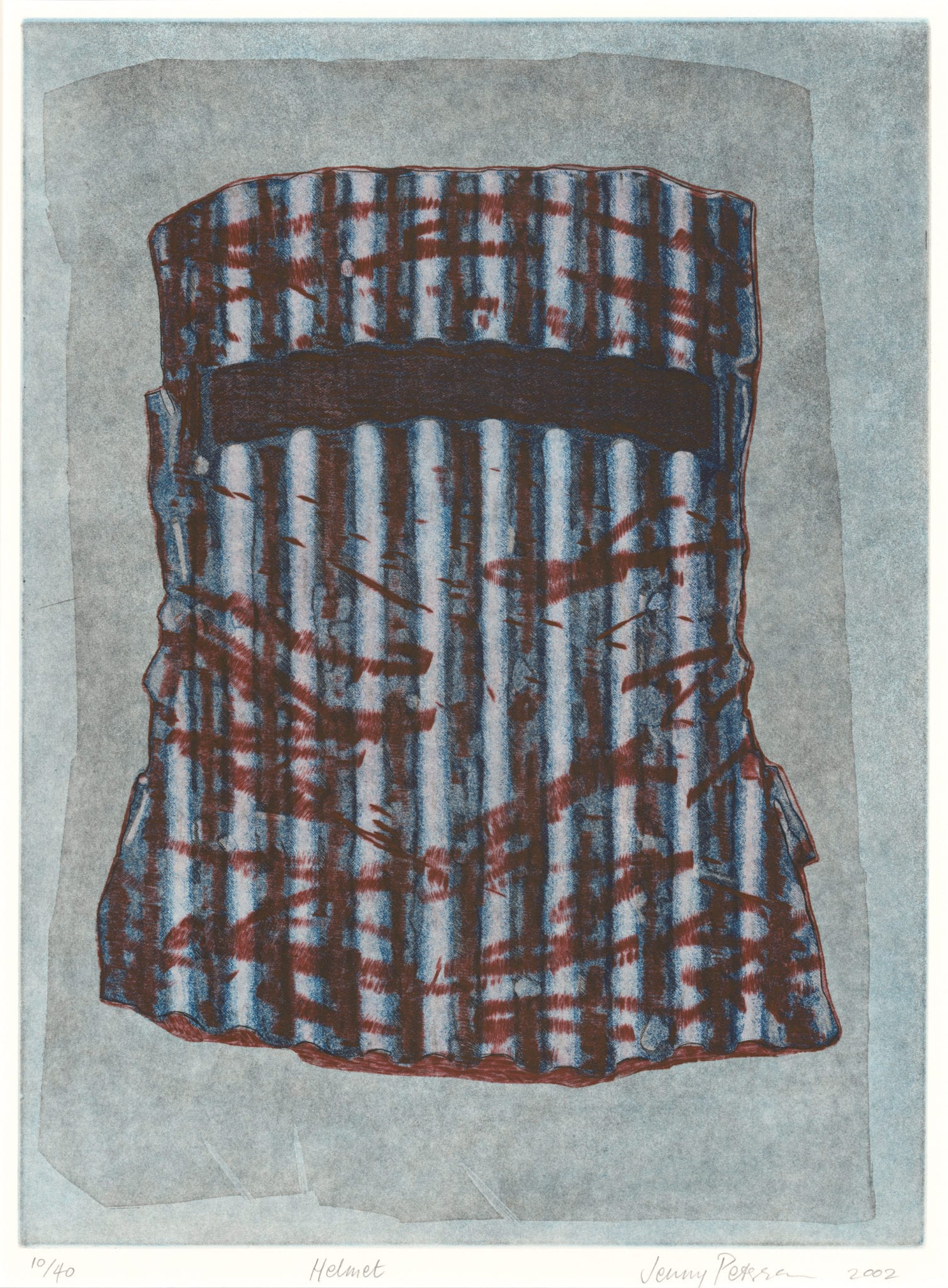 Jenny Peterson, Helmet, 2002, Etching and Aquatint, 55 x 40 cm, Latrobe Regional Gallery Collection, Acquired 2002