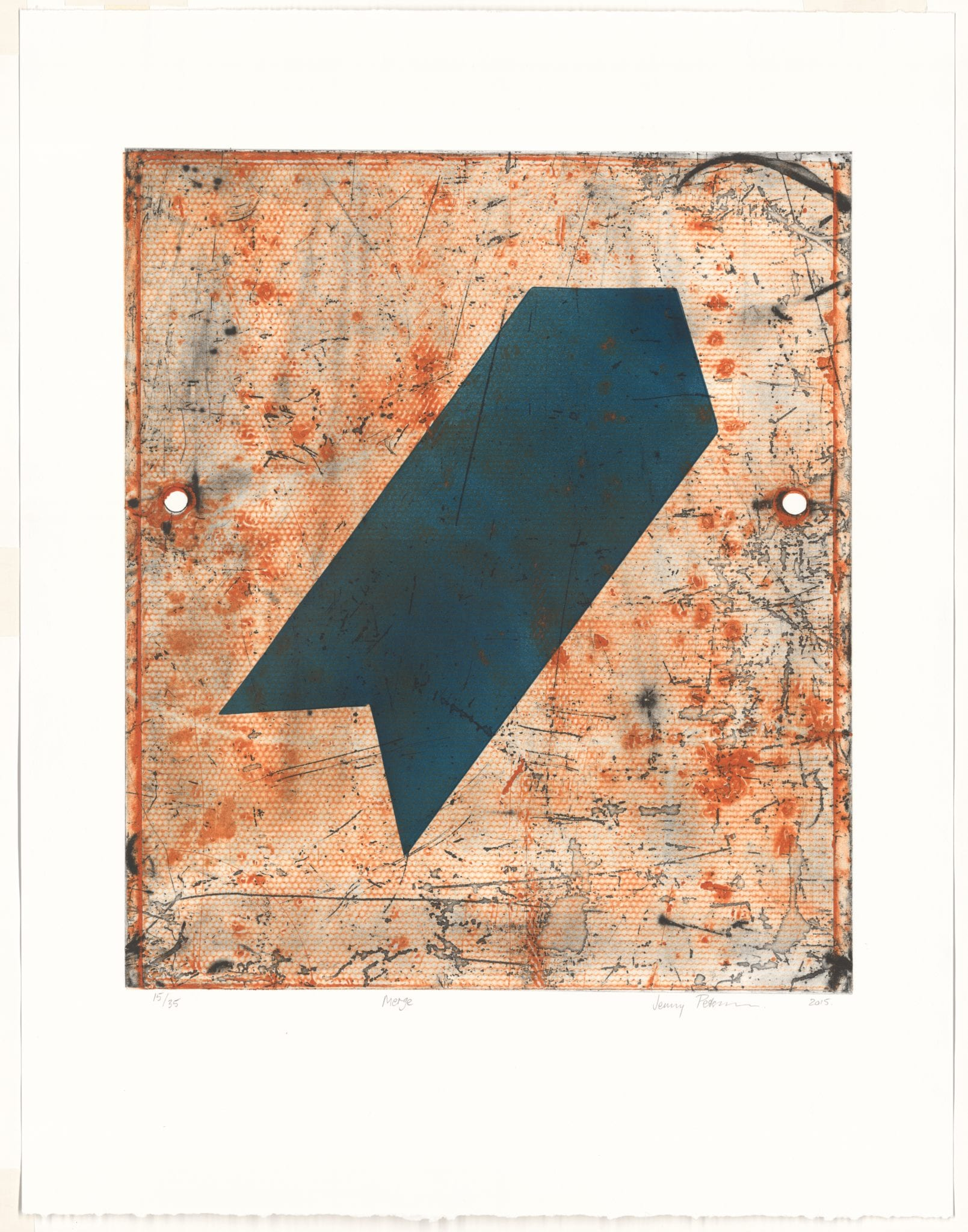 Jenny Peterson, Merge, 2015, Intaglia and relief, 49 x 43 cm image size, Latrobe Regional gallery Collection , Acquired 2015