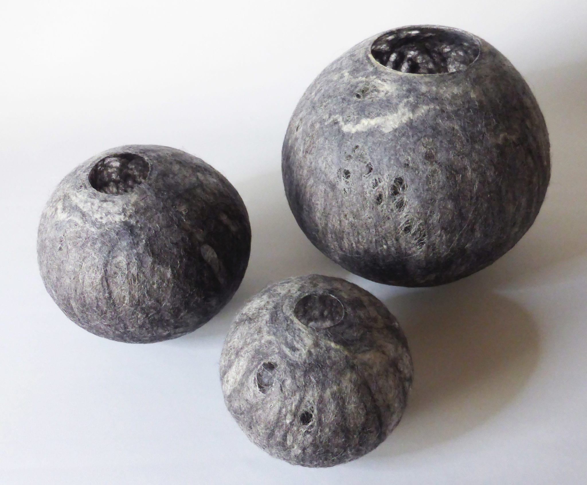 Andrea McCallum, Shades of Grey Vessels, 2018, Merino & Icelandic wool, silk fibre, glue, wet felted & stiffened, Set of 3, various sizes, courtesy of the artist