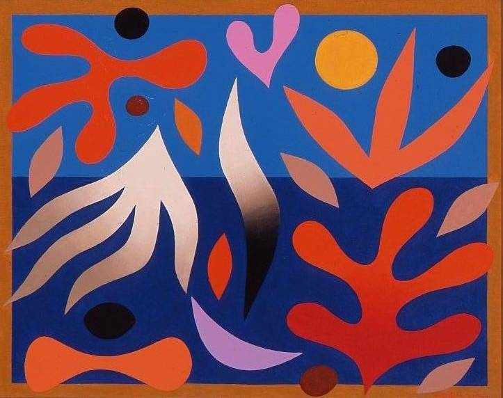 John Coburn, (b. 1925 d. 2006), Barrier Reef, 1976, Acrylic on board, 74 x 89.3 cm. CBUS Collection of Australian Art.