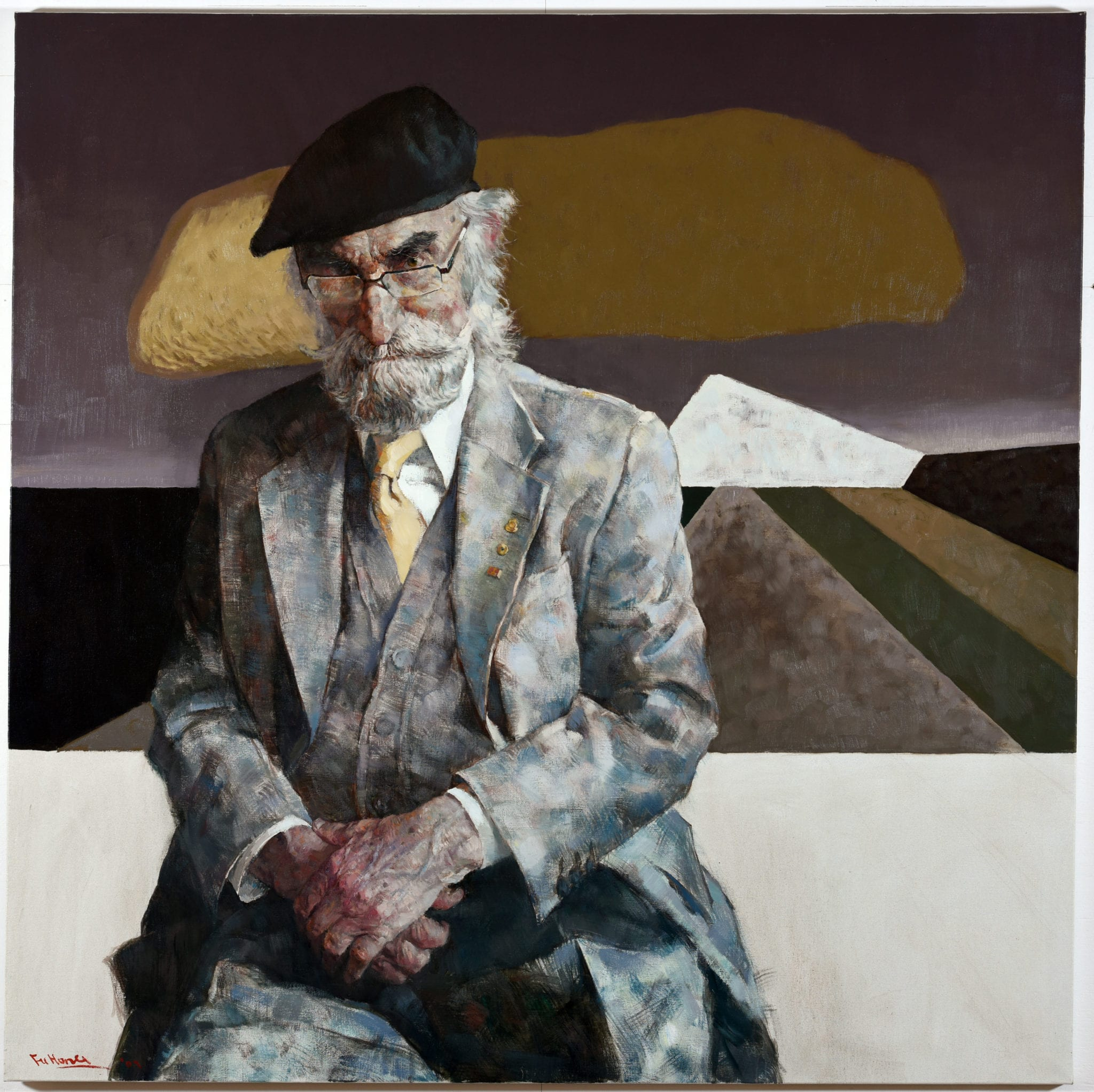 Hong Fu, b. 1946, Dr Joseph Brown, 2007, Oil on linen 152 x 152 cm. CBUS Collection of Australian Art