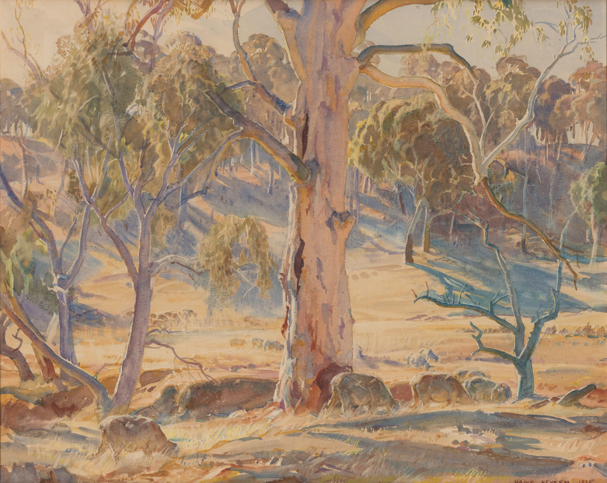 Hans Heysen, (b. 1877 d. 1968), Summer afternoon, Ableside, 1936, Pencil and watercolour on paper 80.3 x 93.1 cm. CBUS Collection of Australian Art.