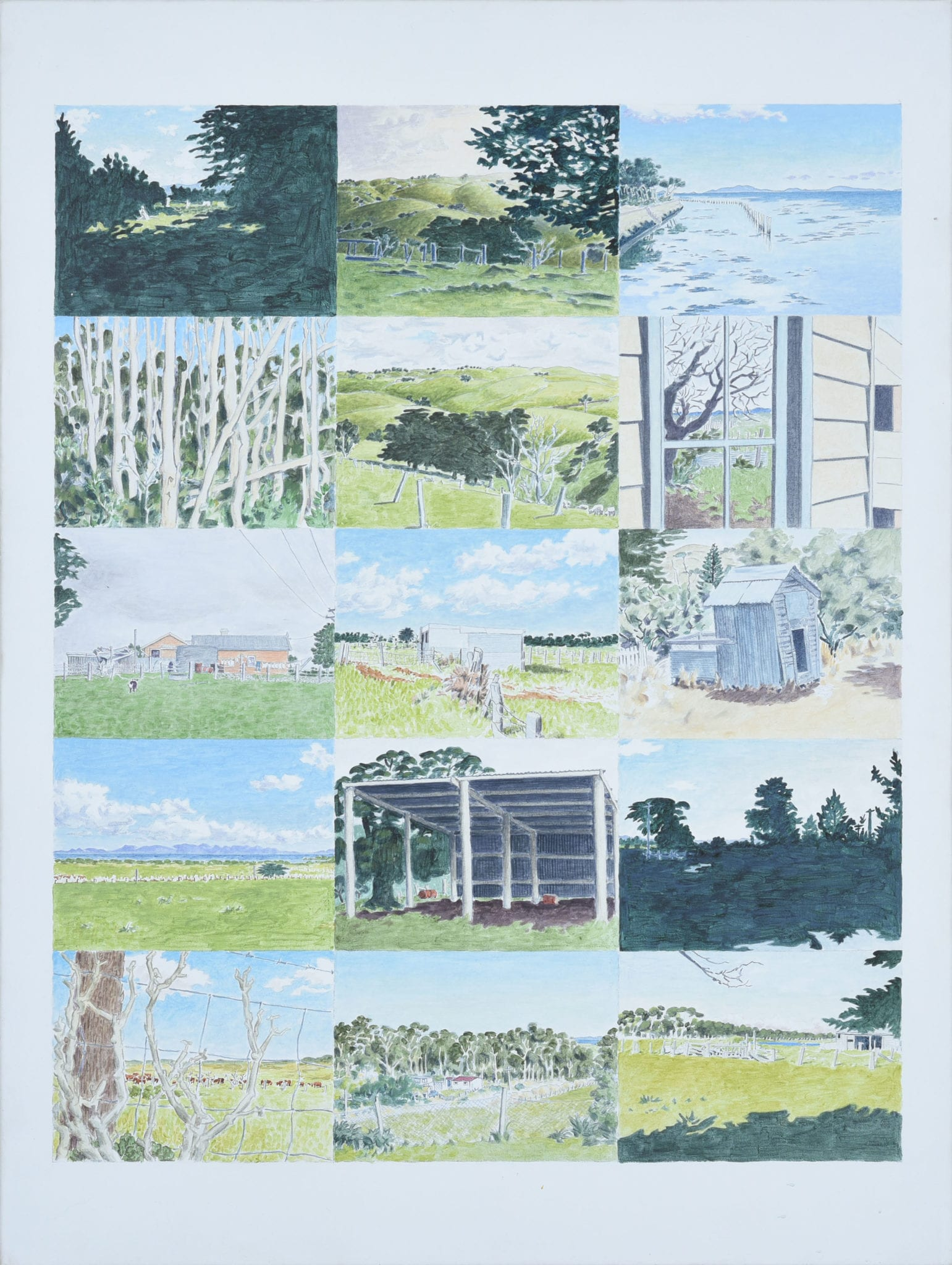 Mike Brown, Fifteen Views of Gippsland, Acrylic on canvas, 102 x 81 cm image size. Latrobe Regional Gallery Collection