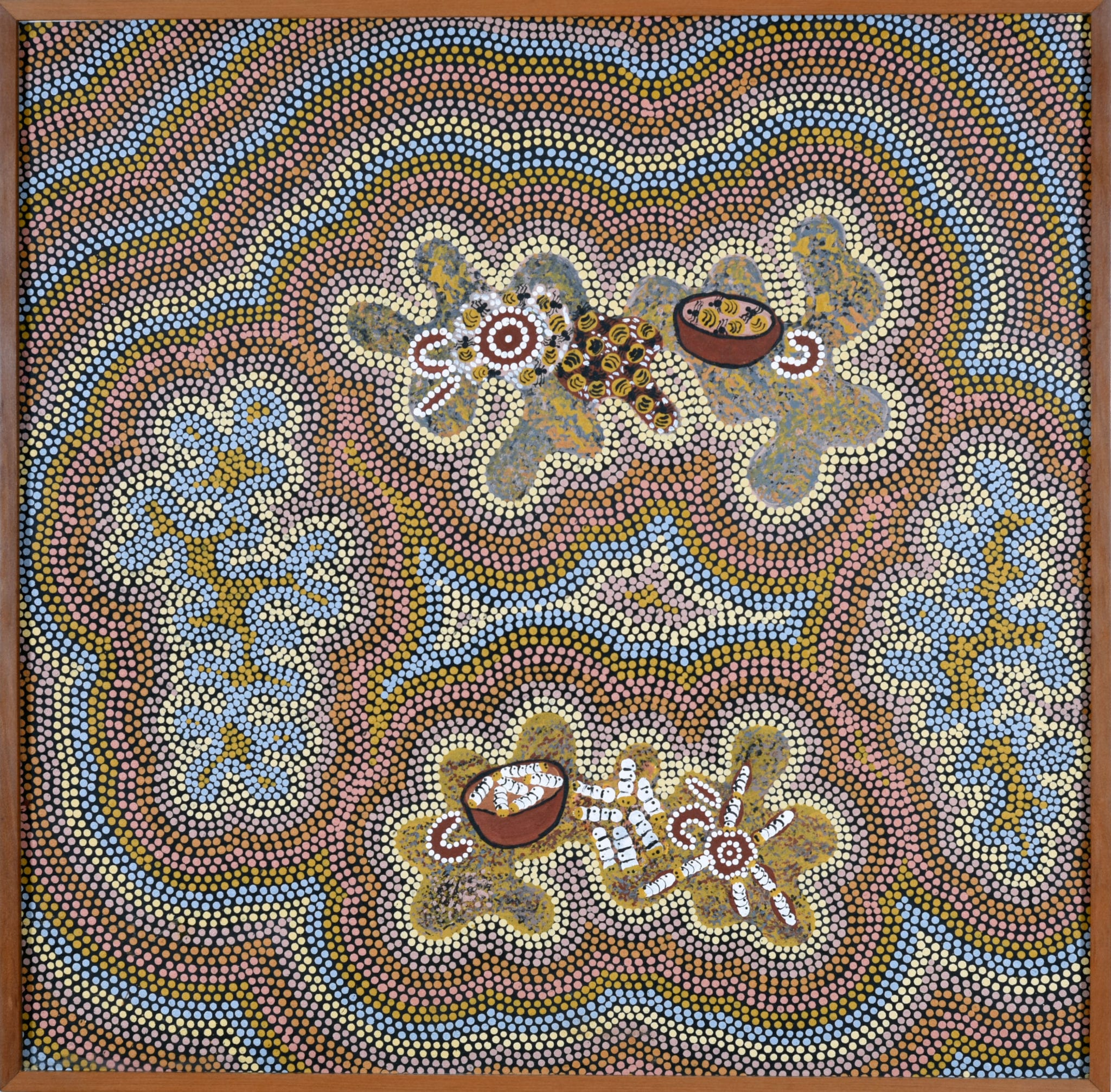 Sandra Nampitjinpa, (b. 1954), Witchetty grub and Honey Ant Dreaming, 1990, Synthetic polymer paint on canvas 93.1 x 94.2 cm. CBUS Collection of Australian Art.