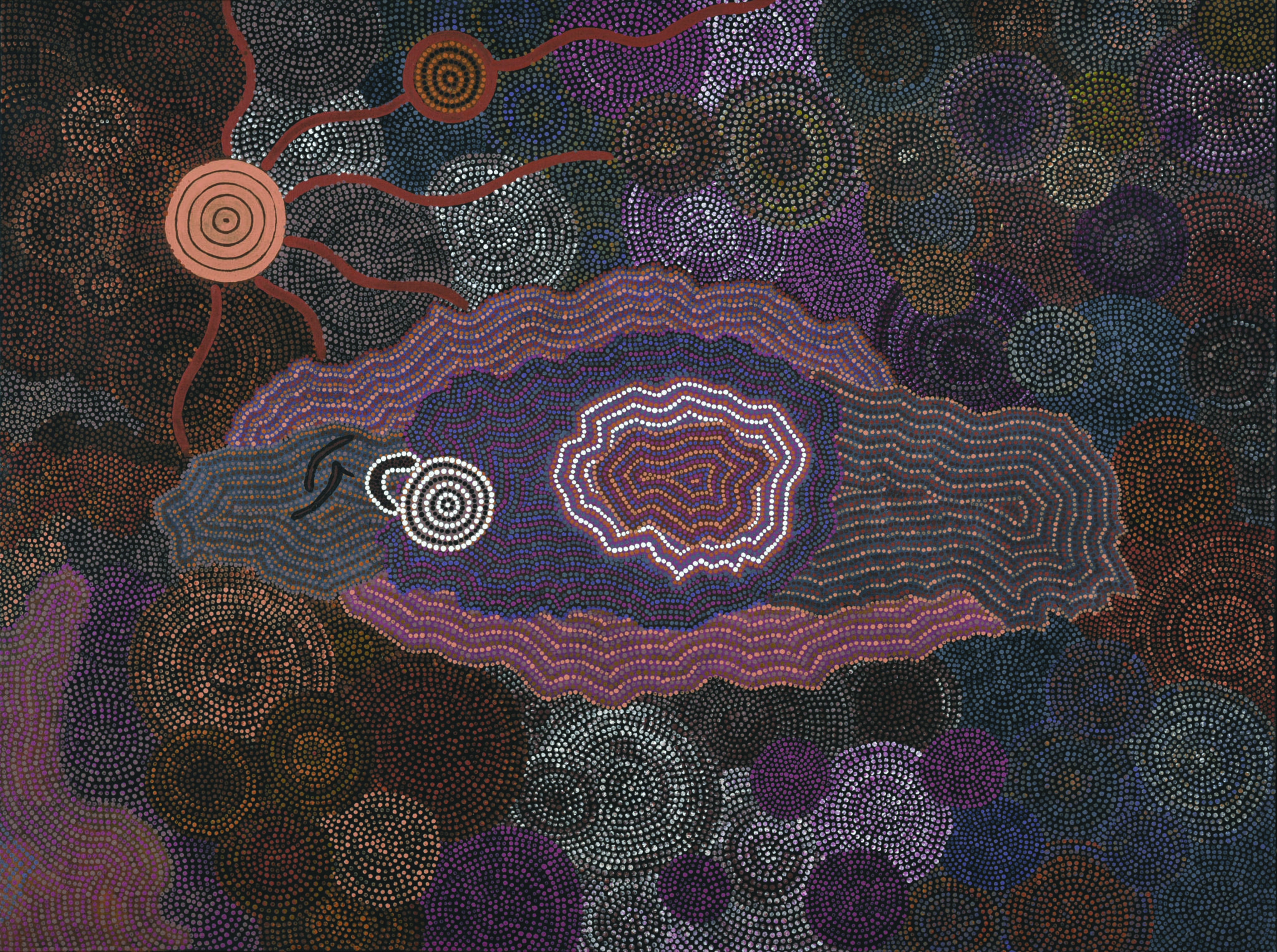 Pansy Napangati, Ilpilli, 1990, Acrylic on Canvas, 92 x 122 cm, CBus Collection of Australian Art