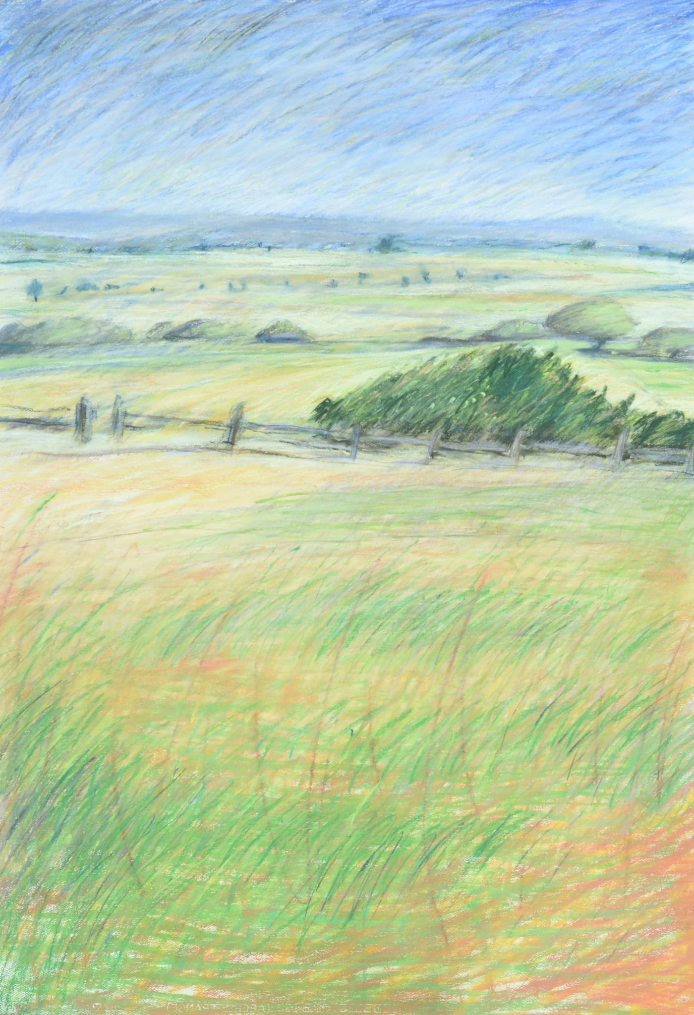 Julie Rosewarne Foster View to the South, 1985, Pastel on paper, 106 x 73 cm, Latrobe Regional Gallery Collection, purchased with the assistance of the Australia Council, 1986.