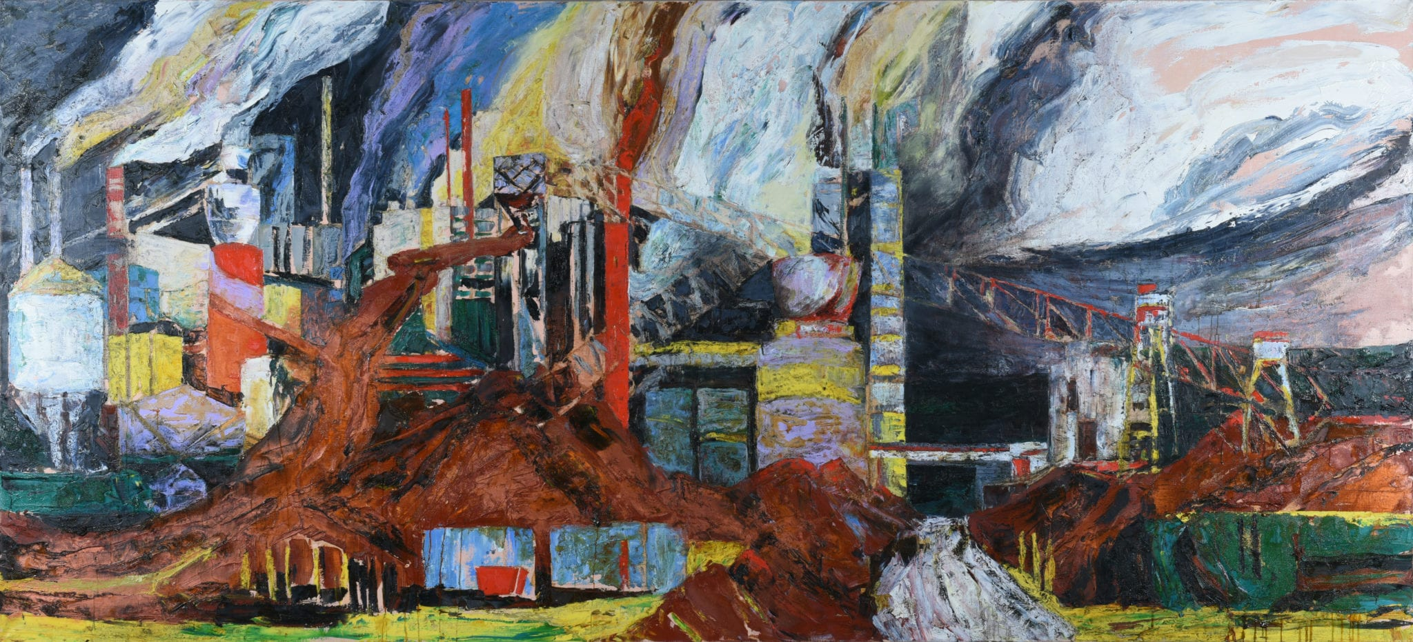 Mandy Martin, APM Rain, Steam and Speed, 1989, Oil on linen, 180 x 396 cm, Latrobe Regional Gallery Collection, purchased by The Bank of Melbourne Regional Art Collection, 1997
