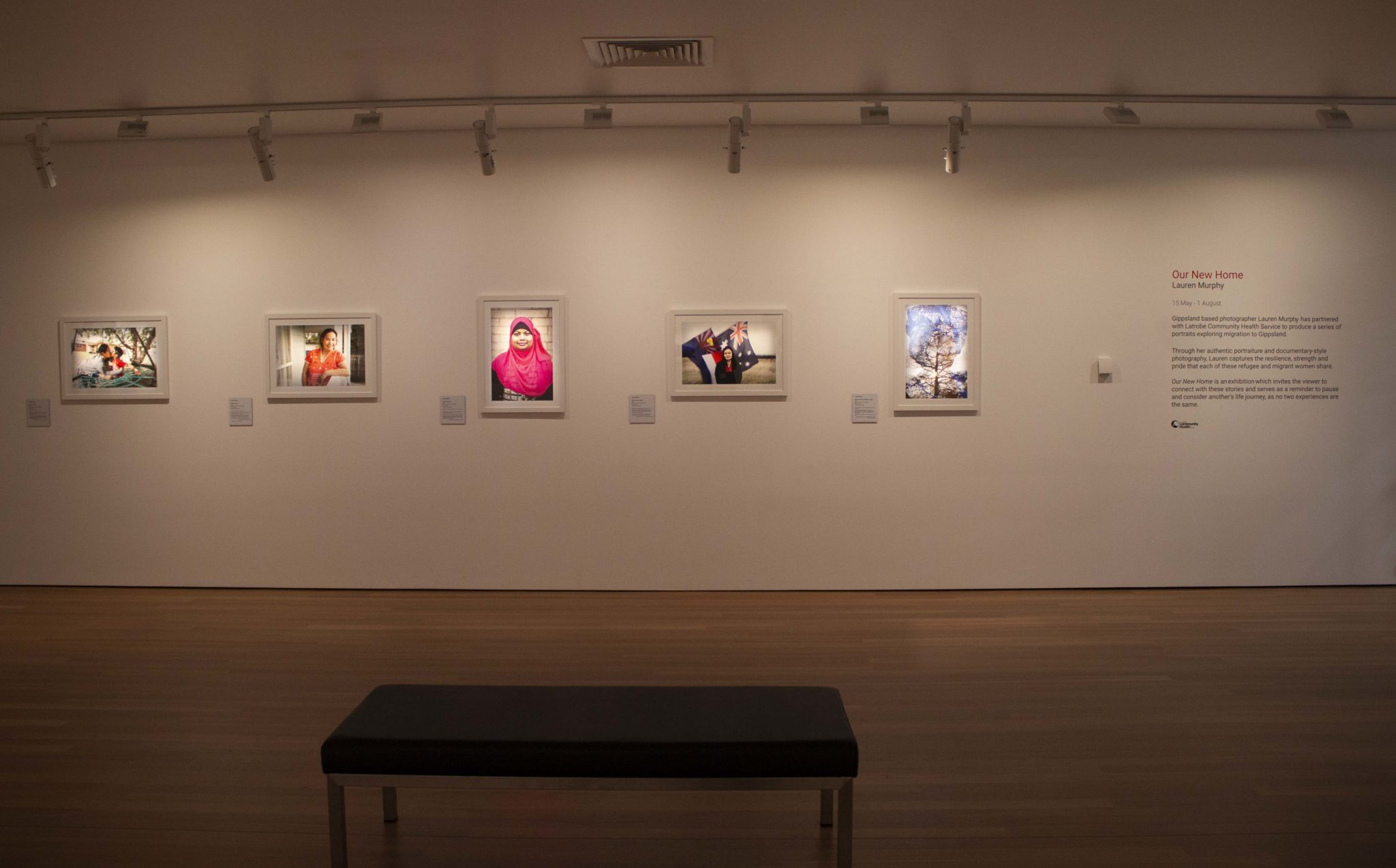 Exhibition documentation of Our New Home, Lauren Murphy in partnership with Latrobe Community Health Service, shown in Gallery 6, Latrobe Regional Gallery, 2021.