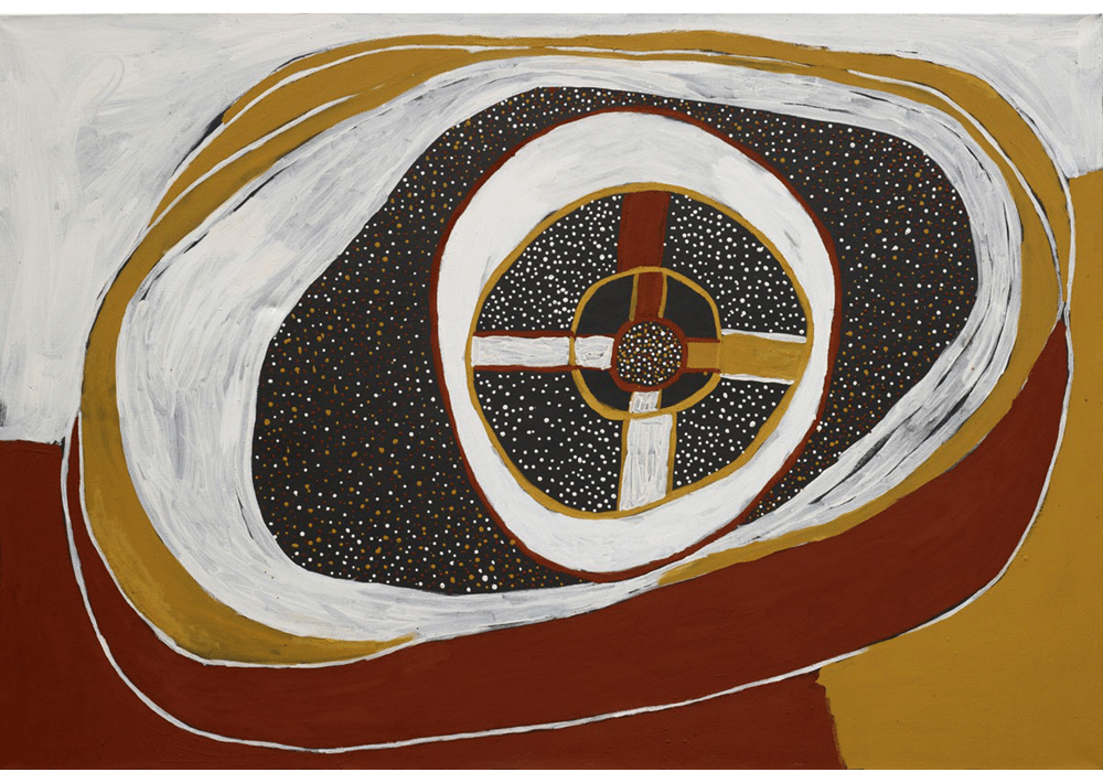 Timothy Cook, 'Kulama', 2011. Natural pigments and acrylic binder on canvas, 150 x 200 cm. Collection of Seva Frangos, Perth © Courtesy the artist and Jilamara Arts & Crafts Association, Melville Island, NT