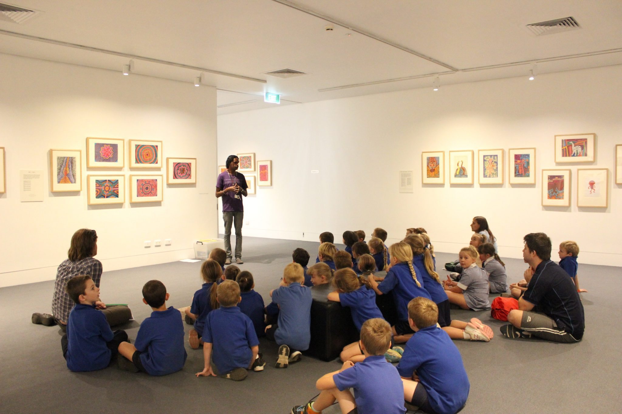 School children in the Jimmy Pike exhibition 2015