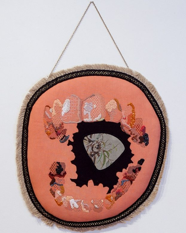 Image credit: Sera Waters The Great Australian Bite: Gums 2011 Linen, cotton, crewel, beads, sequins, trimmings, chain, card, stuffing, leather, tea-towel, felt black work, crewel work57cm x 64cm x 3cm (variable)